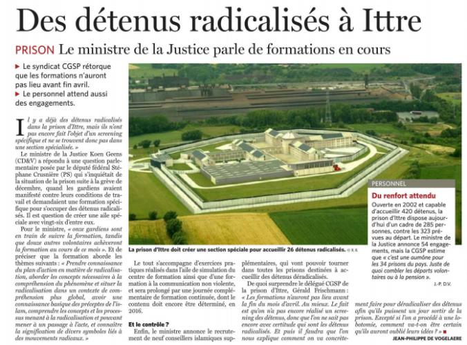 détenus radicalisés Ittre